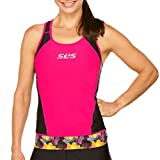SLS3 Womens Triathlon Top FX | Tri Top Women | Back Pocket | Anti-Friction Seams | Gripper Hem | Jersey | German Designed (Black/Bright Rose, L)