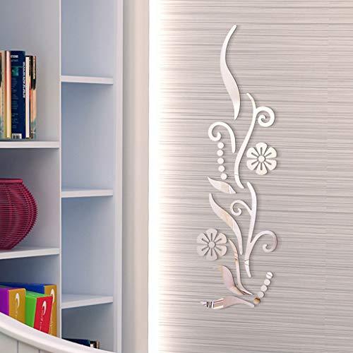 YWLINK Flor BañO AcríLico Espejo Decorativo Etiqueta Arte De La Pared Espejo Secor HabitacióN