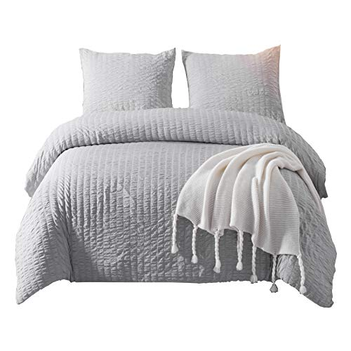 DuShow Duvet Cover Set King Gray Soft Solid Seersucker Hotel Quality 3 PCS Comforter Cover Set With Zipper Closure