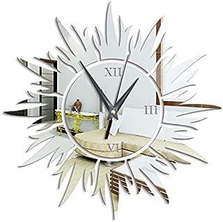TNKML Large Indoor Decorative Wall Clock Classic Living Room Kitchen Lotus Sun Green Crystal Art Study Office Classic Living Room Kitchen Bedroom Mirror Clock Quartz Clock, Silver