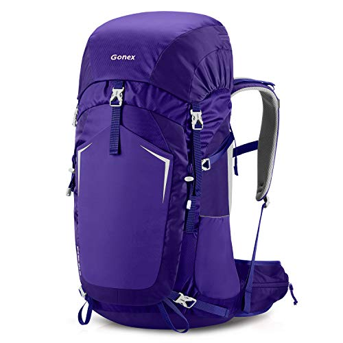 Gonex 55L Hiking Internal Frame Backpack Outdoor Backpacking Camping Trekking Climbing Backpack with Rain Cover for Men Women Bluish Purple