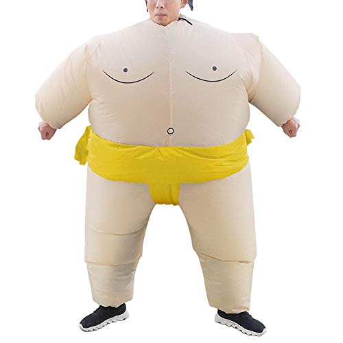 Skysep Interessante Aufblasbares Kostüm Sumo Ringer Fasching Karneval Halloween Cosplay Fancy Dress Party Outfit Neuheit Spielzeug für Erwachsene Kinder Komisch (Color : Yellow - L)