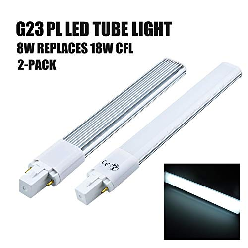 Lámpara LED 8W G23 Luz diurna 6000k 800 lúmenes Empotrable horizontal 2 pines Bombilla Tubo de luz para iluminación interior Clase de energía A +