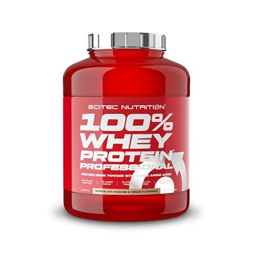 Scitec Nutrition 100% Whey Protein Professional, Zawiera dodatkowe aminokwasy i enzymy trawienneó, bez glutenu, 2.35 kg, Ciastka cze-koladowego z kremem