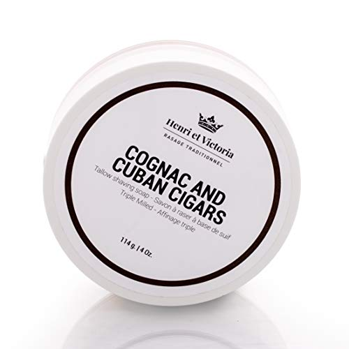 Cognac and Cuban Cigars Tallow Shaving Soap for Men | Henri et Victoria Triple Milled Shaving Soap For Men |Moisturizing, Ultra Glide, Cushioning, Easy Lather, no Razor Burn and Dry Skin | 114 g