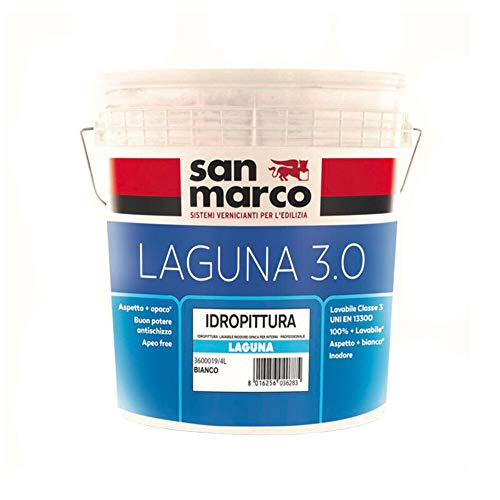 san marco LAGUNA 3.0 idropittura lavabile INODORE per interni, colore bianco, lt 14