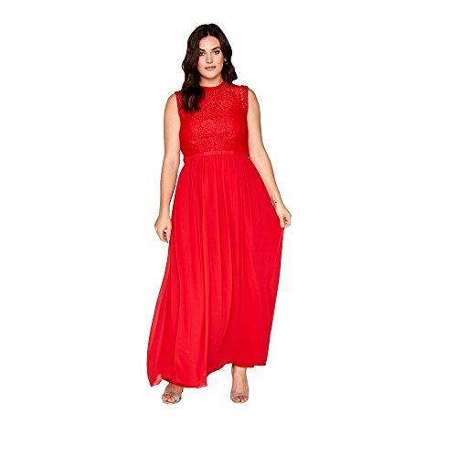 Little Mistress Curvy - Vestido Largo con Detalle en Cintura para Mujer (46 EU) (Rojo Cayena)