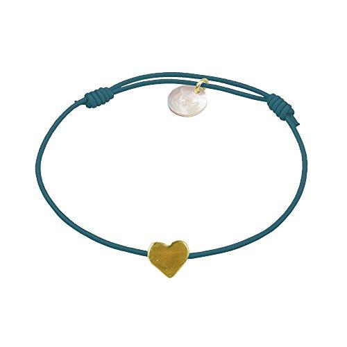 lua accessories - Armband Damen - Elastikband - größenverstellbar - hochwertig vergoldetes Herz - Mini Heart Gold (Petrol)
