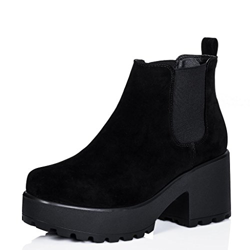 Block Heel Cleated Sole Platform Chelsea Ankle Boots Black Synthetic Suede US 7