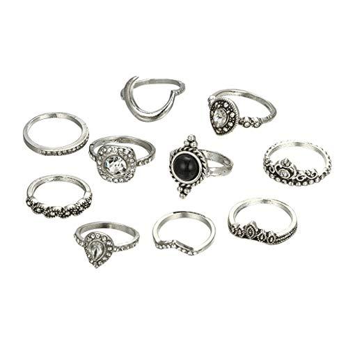 minjiSF Juego de 11 anillos de plata con diamantes de imitación para mujer, estilo bohemio, moderno, retro, único, brillante, vintage, no se desvanece, tendencia de moda (plata)