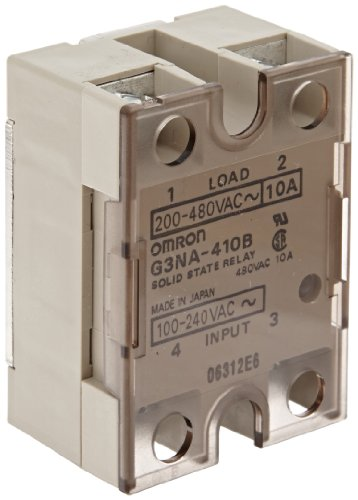 Omron G3NA-410B AC100-240 Solid State Relay, Zero Cross Function, Yellow Indicator, Photocoupler Isolation, 10 A Rated Load Current, 200 to 480 VAC Rated Load Voltage, 100 to 240 VAC Input Voltage