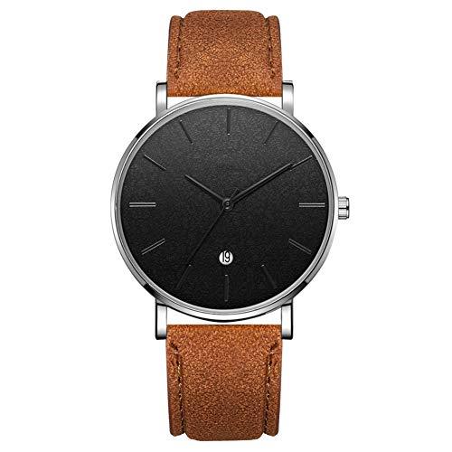 GJHBFUK Reloj Redondo Moda Redondo Reloj De Pulsera De Cuarzo Analógico (cinturón De Café Plateado Caja Negra Aguja Negra)