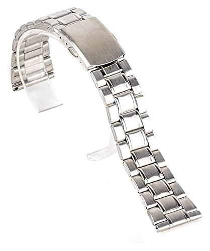 FETTR Correa de reloj de acero inoxidable de 14/16/18/20/22 mm, correa para reloj de pulsera de doble cierre plateado (color: 14 mm, tamaño: plata)