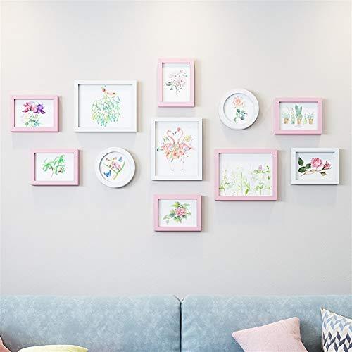DFMD Europese fotowand – fotolijst van hout, minimalistisch, modern, om op te hangen, woonkamer, slaapkamer, eettafel, wandlijst, roze, wit