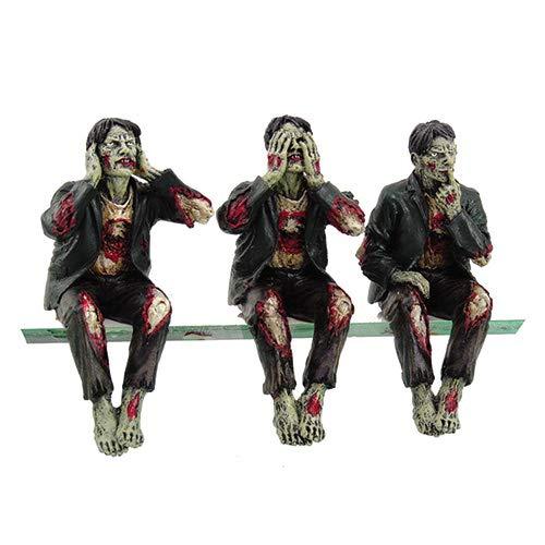 Walking Dead Zombie Undead See Hear Speak No Evil Set of Shelf Sitters Computer Top Statue Figurines