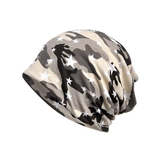 Amorar Unisex weiche Baumwolle Slouchy Beanie Bandana Infinity Schal Schlaf Cap Camouflage Kopfbedeckungen Sonnenhut für Haarausfall Krebs Chemo,EINWEG Verpackung