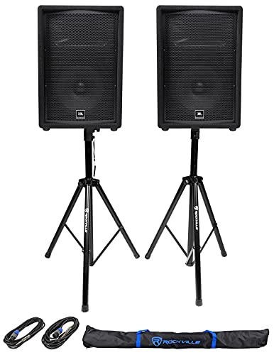 JBL JRX212 12' DJ P/A Speaker Floor Wedge Monitor Bundle with Rockville RCTS1425 25' 14 AWG 1/4' TS to Speakon Speaker Cable and Pair RVES1 Tripod PA Speaker Stands