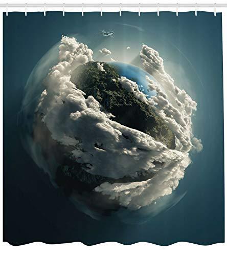 taquxinlaowan Erde Duschvorhang Planet Majestic Clouds Print für Badezimmer