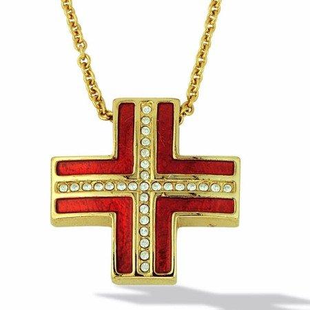 LIOR-Secondo le donne s ciondolo a forma di croce con Zirconia cubica, cristalli, colore: oro