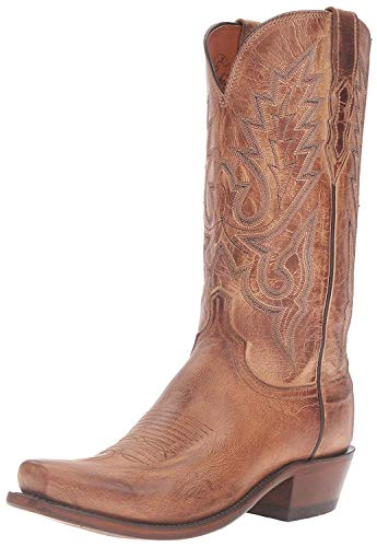 Lucchese Bootmaker Men's Lewis Mad Dog Goat Riding Boot, Tan Burnish, 10.5 D US