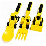 libelyef Juego de cubiertos para niños, 3 piezas de plástico para niños, cubiertos para niños pequeños, tenedor y cuchara