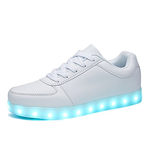 SANYES USB Charging Light Up Shoes Sports LED Shoes Dancing Sneakers SYDB551-White-39