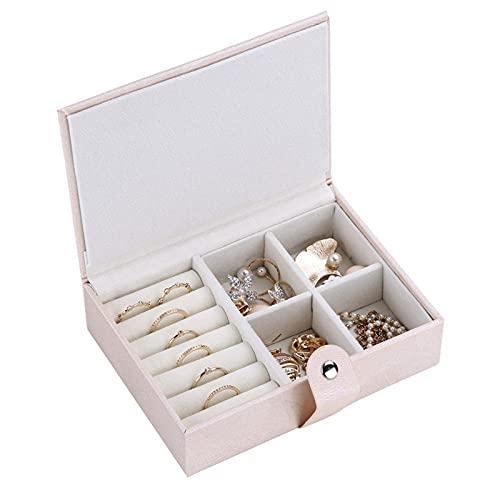 Caja De Joyería Portátil De Viaje Que Contiene Anillos De Las Señoras Pendientes Pulseras Pulseras Y Otras Joyas Estilo Simple con Hebilla Magnética Pink-14.6 * 11 * 4cm
