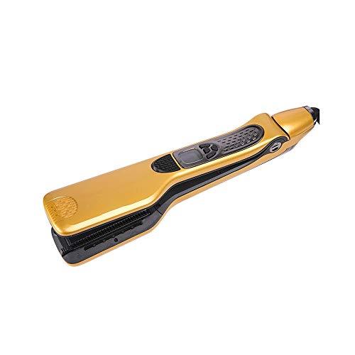 Z-Color Vapor Mini alisadores de Pelo Profesional del Pelo del Cepillo eléctrico de cerámica y turmalina endereza el Hierro Plano del Pelo Peine (Color : Yellow)