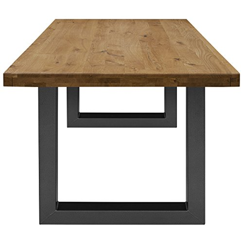 COMIFORT Mesa de Comedor - Mueble para Salon Oficina Despacho Robusto y Moderno de Roble Macizo Color Ahumado, Patas de Acero U-Forma Grafito (160x90 cm)