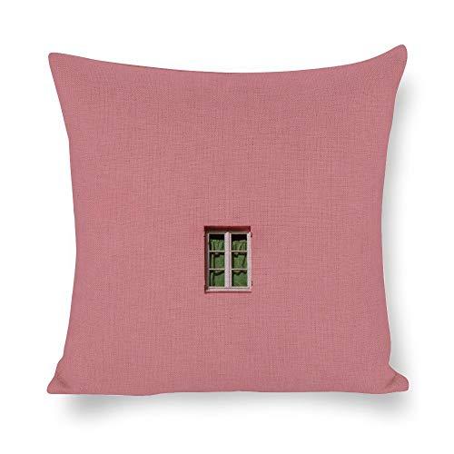 N/ Een decoratieve gooi kussenslopen landschap vintage ontwerp venster op roze muur linnen kussenslopen foto afdrukken kussensloop voor bank bank bank 20x20 inch l7bo0h395jy6