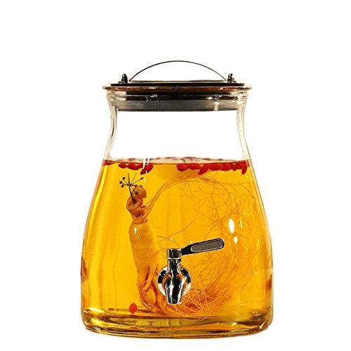 Homebrew fermentador de cerveza y vino Botella de vidrio sin plomo del hogar con grifo de barril de vino, Tamaño: 27*19*13.5cm (para 5kg de líquido), con grifo de acero inoxidable
