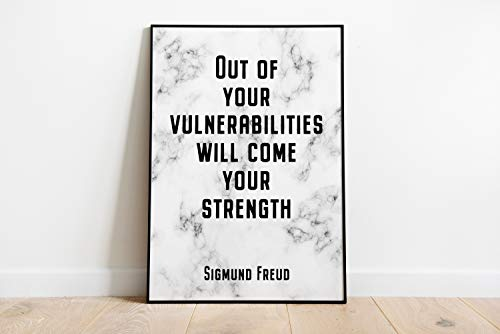 Sigmund Freud Citazione Out of Your vulnerabilities Will Come Your Strength Psychology Wall Art Office Decor senza cornice