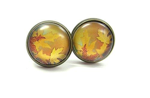 Herbstleuchten Cabochon Ohrstecker Ohrringe 12mm Blatt natur