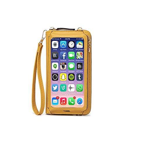 mujeres bolso de la pulsera de la pantalla táctil, bolso pequeño del teléfono de Crossbody del monedero de la cartera de la protección RFID