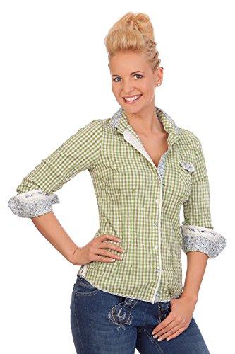 Spieth & Wensky Trachten Bluse Crashoptik, Langer Arm - BUCHAU - grün, Größe 32