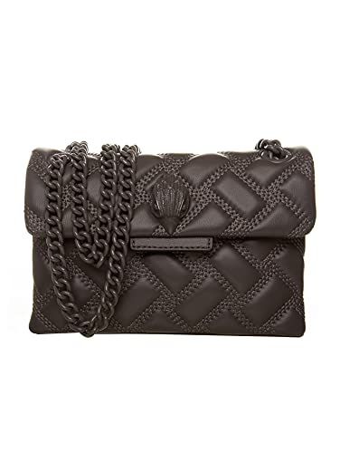 Kurt Geiger Mini Kensington Drench Damen-Tasche, Umhängetasche, Leder, Grau, 13 x 19 x 6 cm