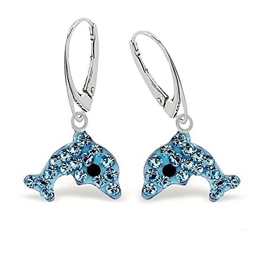 GH1a Blau Kristall Delfin Brisur Ohrringe 925 Echt Silber Mädchen Damen Ohrhänger Delphin