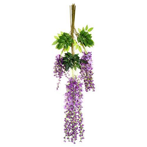 DOITOOL 12pcs Artificial Wisteria Vine Ratta Stem Fake Silk Flowers Decorative Hanging Flower Garland for Birthday Wedding Party Decoration Purple 110cm