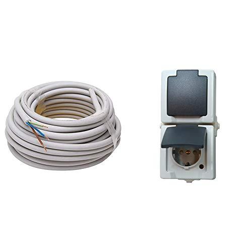 Kopp 150810841 NYM-J 3 x 1,5 mm² Feuchtraum-Kabel, 10 m-Ring & 136956008 Nautic Steckdose für Feuchtraum, 250 V, grau