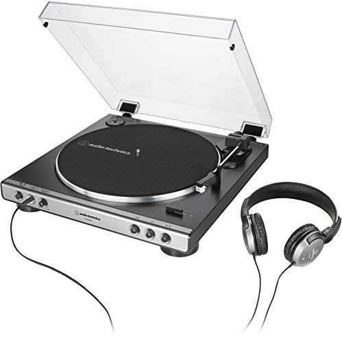 Audio-Technica AT-LP60XHP Fully Automatic Belt-Drive Turntable and Headphone Bundle, Gunmetal/Black, Hi-Fi, 2-Speed, With Intregrated 3.5 mm Headphone Jack & Volume Control