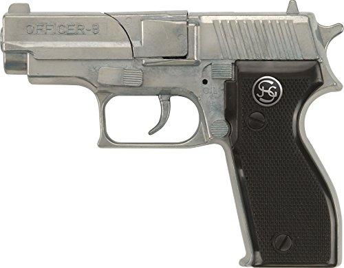 PARTY DISCOUNT J.G.Schrödel Officer: Spielzeugpistole für Zündplättchen, Ideal für das Polizeikostüm, 8 Schuss, 15.5 cm, Schwarz/ Silber (107 0481)