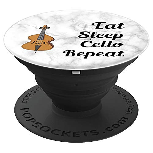 Cello Player - Cellist - Eat Sleep Cello Repeat - Marble PopSockets Grip and Stand for Phones and Tablets