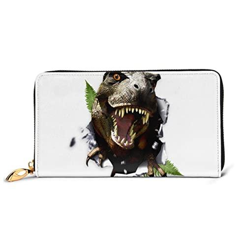 Animales salvajes Lobo Cartera de cuero para mujer con cremallera larga alrededor del bolso de embrague bolsa de viaje titular de la tarjeta de crédito, Dinosaurios 3D, Talla única, classic