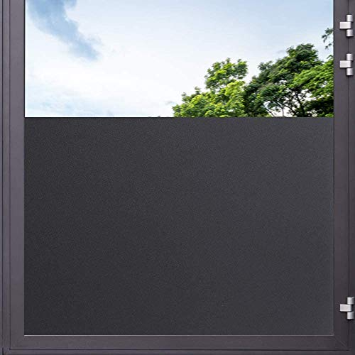 LMKJ Película de Ventana Opaca Mate, Etiqueta de Vidrio de privacidad Esmerilado película de Tono Oscuro Vinilo Autoadhesivo Etiqueta de Ventana Negra A23 50x100cm