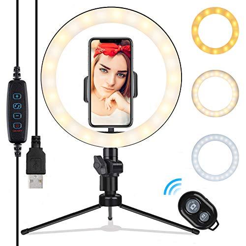 10.2 Zoll Selfie Ringleuchte mit Stativ - Rovtop LED Ringlicht für Handy,Tisch Ringlicht mit Handy Halter und Fernbedienung, für Make-up,Live-Streaming,YouTube, Tiktok, Vlog und Fotografie