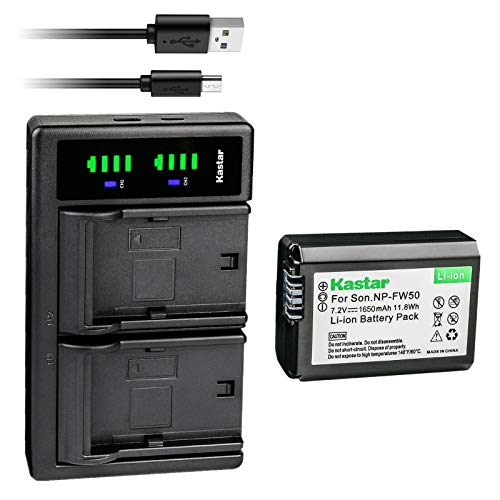Kastar 1-Pack NP-FW50 Battery and LTD2 USB Charger Replacement for Sony SLT-A35, SLT-A37, SLT-A55, Cyber-Shot DSC-RX10, Cyber-Shot DSC-RX10 II, Cyber-Shot DSC-RX10M2, Cyber-Shot DSC-RX10 III -  CH-LTD2-1B-FW50-J