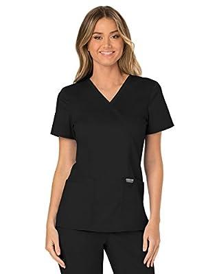 CHEROKEE Workwear Revolution WW610 Women's Mock Wrap Top, Black, Large