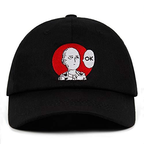ONE Punch Man Dad Hat Anime Fan Embroidery 100% Cotton Baseball Cap Saitama Hats for Women Men ok Man One Punch Man Snapback (Black)
