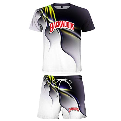 Herren Backwoods Shirt Und Shorts Set 2 Stück Trainingsanzug Kurzarm Jogging Sport T-Shirts Und Shorts Anzug Set C-XXXXXL