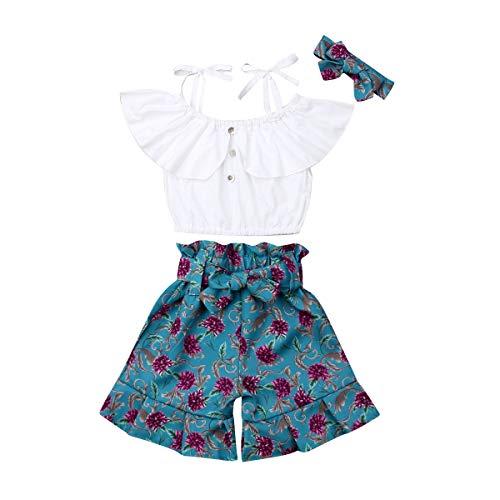Ensemble d'été pour bébé 3 pièces Crop Top T-shirt Volant Bretelles + Pantalon Impression Florale avec nœud Ruffles + Bandeau Impression 2-7 ans - Blanc - 6-7 ans